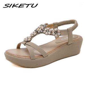 Siketu 2020 verão cunha plataformas sandálias moda cristal mulheres casuais sandálias plana sapatos mulher boêmia gladiador praia1