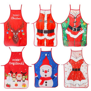 Adult Christmas Apron Santa Lady Printed Cartoon Cute Cooking Apron Christmas Decoration Props for Kitchen Tools Creative 7 styles