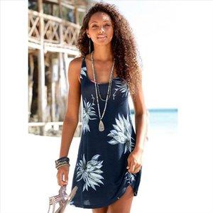 Womens summer beach print vest dress female O neck fashion casual light color dress Slim loose wild vestidos verano 2019