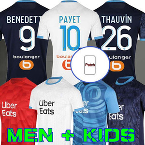 مرسيليا Soccer Jersey Olympique DE 20 21 OM 2020 2020 2021 ميلوت القدم المأكولات Thauvin Benedetto Kamara Payet Luis Henrique Alvaro Football Shirts Men + Kids Kit