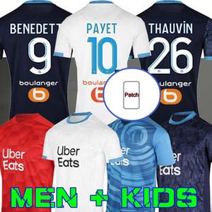 Marseille Maillot om Soccer Jersey Hommes Kit Enfants 2021 Maillot de Fot 20 21 Payet Benedetto Troisième chemise de football Kamara Álvaro Sanson