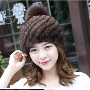 Real Hats with Genuine fur Pompoms Ladies Winter Knit Women Warm female Fluffy Caps