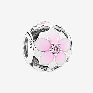 Authentic 925 Sterling Silver DIY Bracelet Charms Jewelry Accessories with box for Openwork Pink Magnolia Flower Charm