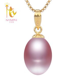 [NYMPH] Yellow Gold Natural Pearl Necklace Pendant Drop Fresh Water Hollow Bead Fine Jewlery Romantic Engagement [] LJ201016