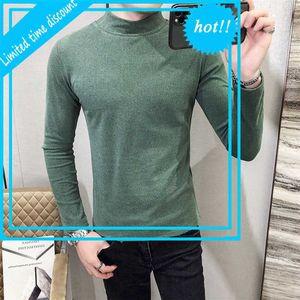 Homme Vintage T-Shirt Langer Mouw Half Tall Collar Koreaner Stil Tee Club Outfits Grünes Samt T-Shirt Männer