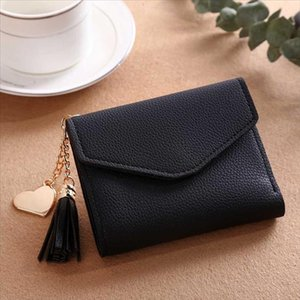 2019 Fashion Tassel Women Wallet for Credit Cards Small Brand Leather Short Womens Wallets and Purses Carteira Feminina
