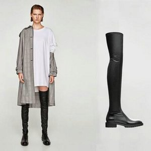 Fashion Brand Stretch Boots Women Genuine Leather Women Over The Knee Boots Sexy Zipper Autumn Winter Women Boots ShoesZ1126
