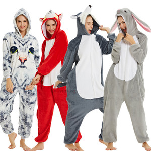 Adult Animal Pajamas Women Unicorn Nightwear Onesie Kigurumi Panda Pyjama Anime Cartoon Overalls Winter Rabbit Nightshade Jumpsuit