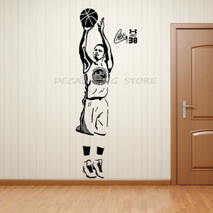 Sports Star Basketball Players Wall Decals Stephen Curry Stickers for Boy`s Room and School Easy Paste with Removable 1603 PVC J1208