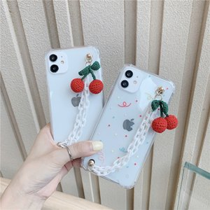 Cute Plush Cherry Bracelet Phone Case For iPhone 11 Pro XS MAX X XR Wrist Chain Cases Chain Hanging Cover