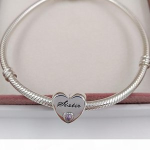 Sterling Silver Beads Sister ' ;S Love Charm Fits European Pan Family Style Jewelry Bracelets &Necklace 791946pcz