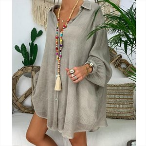 Blouse Female Clothing Womens Loose Plus Size Solid Long Sleeve V neck Pullover Blouse Tops Shirt Women Plus Size Blusa Feminin