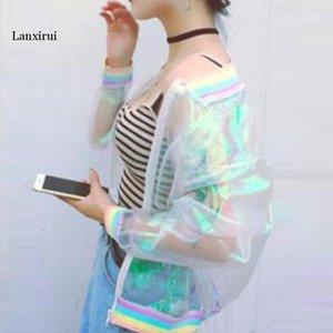 Chaquetas de mujer Niñas para mujer Chaqueta transparente Abrigo holográfico Bombardero Bomber One Tamaño1