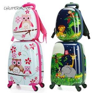 Chupermore cartoni animati cartoni animati rotolando bagagli set spinner multi-funzionale studente per bambini zaino ragazza ragazzi boys valigia ruote