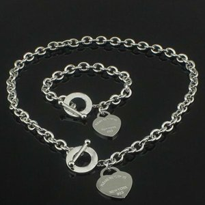 Hot sell Birthday Christmas Gift 925 Silver Love Necklace+Bracelet Set Wedding Statement Jewelry Heart Pendant Necklaces Bangle Sets 2 in 1