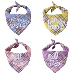 Happy Easter Pets Triangle Bibs Single Layer Cotton Plaid Dog Cat Bandana 42*42*60cm Easter Pets Scarf HHD4290