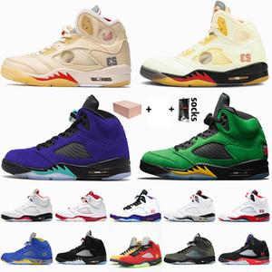 Nike Air Jordan 5 5s Off White Jordan Retro 5 2020 neu mit Kasten Jumpman Herren Basketball Schuhe Weiß Aus Sail Fire Red 5 Alternate Grape Oregon Ducks