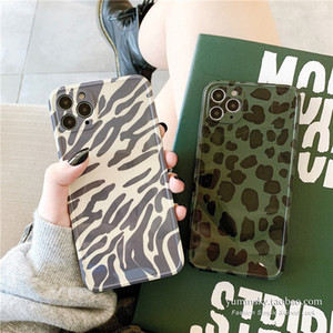 Green Zebra Pattern Phone Case for iPhone 11 Pro 7 8plus X XR Xsmax SE2020 Soft Leather Leopard Print Shockproof Cases