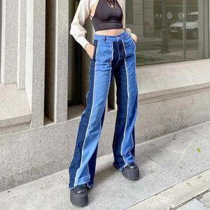 FnOce 2020 Nouveau pantalon de femmes Jeans Fahsion Tendances décontractées Patchwork Taille haute taille Slim élégant denim plein pantalon droit pour fille