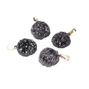 1pcs Crystal Round Druzy Geode Quartz Necklace Black Natural Stone Pendant Women Jewelry Necklace