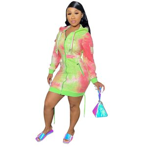 Tie Dye Print Womens Dresses Autumn Winter Multi Pocket Zipper Loose Casual Hoodies Dress Fashion Ladies Clothing