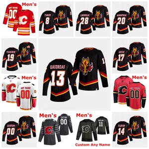 Calgary Flames 2021 Reverse Retro Hockey Jacob Markstrom Johnny Gaudreau Monahan Sam Bennett Elias Lindholm Backlund McDonald Jersey