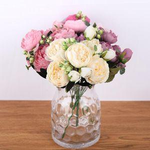 30cm Rose Rosa Seide Pfingstrose Künstliche Blumenstrauß 5 Großer Kopf und 4 Knospe Gefälschte Blumen für Haus Hochzeit Dekoration Indoor Holding Blumen GWF3284