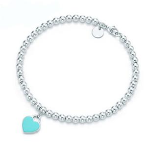 Marca de alta calidad de plata esterlina 925s Clásico diseñador de moda joyería mujer pulsera azul corazón dorado brazalete serie clave