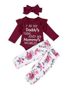 2020 0-24M Infant Baby Girl Clothes Letter Print Ruffle Top Romper+Floral Print Long Pants Headband 3pcs Set