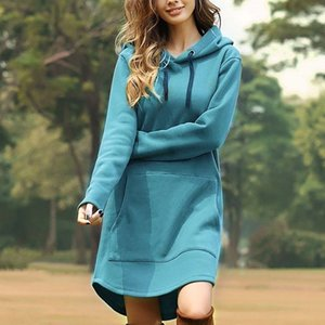 Movokaka Hoodies 2020 캐주얼 솔리드 컬러 여성의 대형 hoodie 드레스 여성을위한 긴 플러스 사이즈 스웨트 3XL