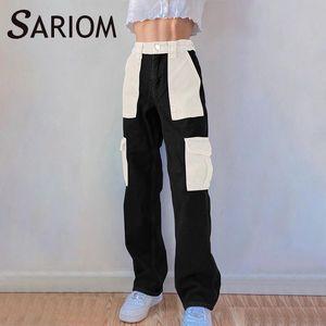 Black White Patchwork Baggy Jeans Womens 90s Boyfriend High Waist Pocket Distressed Denim Pants Ladies Streetwear Long Trousers