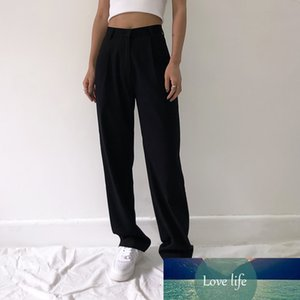 Fashion Straight Suit Women Pants High Waist Casual Office Lady Pants Full Length Wide Leg Loose Female Black Mom Trousers