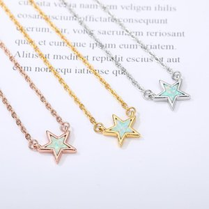 Cute Five-Pointed Star Necklace Stainless Steel Green Stone Opal Vintage Choker For Women Fashion Jewelry Star Pendant Gift