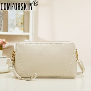 COMFORSKIN العلامة التجارية المؤنث الأعلى رفرف الجودة يوم قبضة جلد اصلي 100٪ رسول حقيبة المرأة السيدات 'الفاصل حقائب Q1117