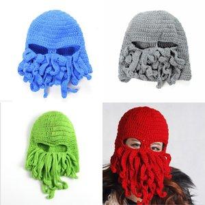 Punto Unisex Hombres Octopus Beanie Tentacle Squid Lana Caps Ski Face Mascar Hats Sea Monster Crochet Beanie Cthulhu Octopus Caps Hallo01