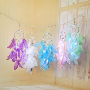 LED Light Dream Catcher Hanging LED Lamp DIY Feather Craft Wind Chime Girl Bedroom Romantic Hanging Home Decoration Valentine gift GA131