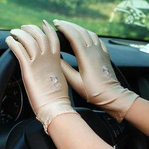 Summer Satin Spandex Sun Protection Gloves Women Thin Elastic Sunscreen Gloves Driving Dancing Show White Etiquette Mitten Party