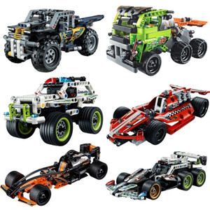 Tirare indietro Auto Building Blocks Technology Series Assemblato Tull Back Racing Car Model Toy Boy Class Bambini Gifts Q1215