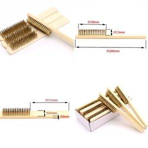 Manija de madera Alambre de latón Cepillo de cobre para dispositivos industriales Superficie interna pulido de pulido de pulido 6x16 Herramienta de la mano de la fila al personal 73 m2