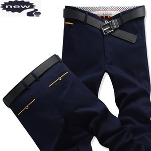 Business Man Summer Straight Suit Casual Cargo Male Khaki Navy Long Trousers Plus Size 40 Office Work Cotton Pants