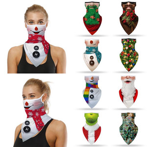 Seamless Ear Mask 3D Printed Bandana Scarf Women Men Christmas Party Face Mask Scarf Outdoor Headband Riding Masks Santa Claus