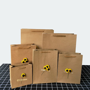 10pcs Retro Black Kraft Paper Bag DIY Dried Flower Gift Bag Universal Shopping Shoe Clothing Packaging Paper Tote Bag