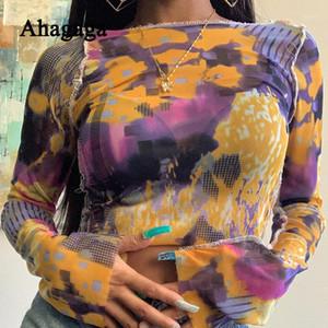 Ahagaga 2020 летняя сексуальная сетка для печати Tee Ters футболка женские топы O-образным вырезом с длинным рукавом футболки T-рубашки мода уличная одежда Blusas Gen51
