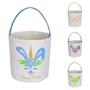 Easter Rabbit Print Bucket Canvas Cotton Bunny Easter Basket Kids Easter Hunt Egg Candy Storage Bucket