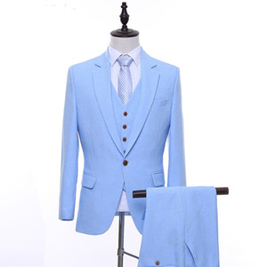 Sky Blue Evening Party Men Suits 2018 Three Piece Jacket Pant Vest Notched Lapel One Button Trim Fit Wedding Groom Tuxedos
