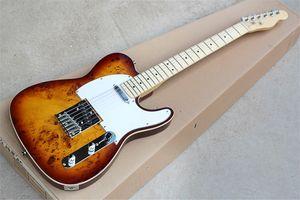 Tree Burl Veneer Body Maple Fretsboard Electric Guitar with Chrome Hardware,Body Binding,White Pickguard,can be customized