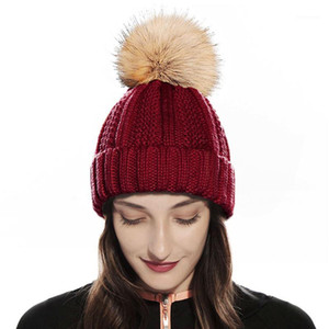 Womens Winter Knitted Beanie Hat with Faux Fur Pom Warm Knit Skull Cap Beanie for Women 15 Colors1