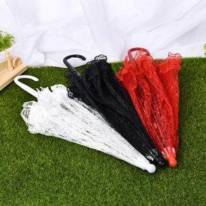 Delicado encaje paraguas elegante escenario rendimiento estudio paraguas algodón bordado paraguas antigüedades novia dama de honor paraguas dde3517