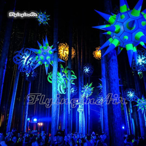 Hanging Lighted Inflatable Sea Urchin Model Balloon 2m Personalized Air Blown LED Star Balloon For Club And Concert Party Decoration