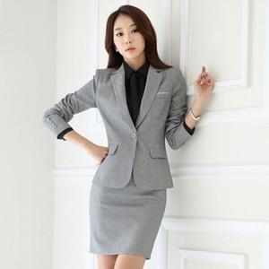 Faldas elegantes de la moda Faldas Traje Single Button Formal Office Uniform Traje Para Mujer Business Blazer Trajes con falda más Tamaño
